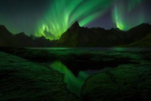 Aurora Mountains Reflection 4k Wallpaper