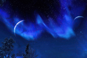 Aurora Night Sky Trees The Elder Scrolls V Skyrim 4k Wallpaper