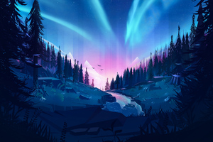 Auroral Forest 4k Illustration Wallpaper