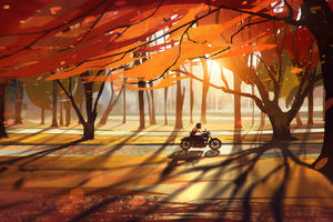 Autumn Fall Countryside Biker Wallpaper