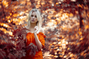 Autumn Girl Outdoor 4k Wallpaper