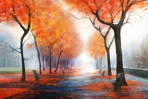 Autumn Park Digital Art 4k