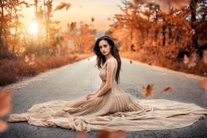 Autumn Road Girl Sitting Gown Dress Wallpaper