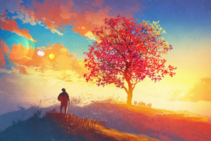 Autumn Season Tree 4k Artwork Painting Wallpaper