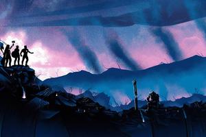 Avengers Endgame Trinity Against Thanos Wallpaper