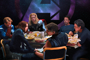 Avengers Having Lunch Wallpaper