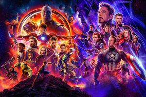 Avengers Infinity War And Endgame Poster Wallpaper