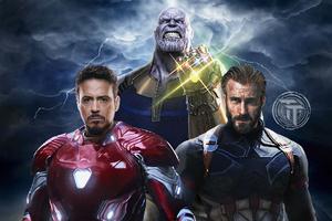 Avengers Infinity War Captain America Iron Man Thanos