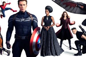 Avengers Infinty War Captain America Nick Fury Hawkeye Doctor Strange Falcon Wanda Maximoff Spiderman