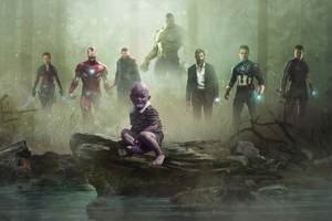 Avengers Vs Kid Thanos Wallpaper