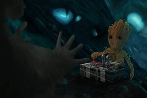 Baby Groot 10k Artwork Wallpaper