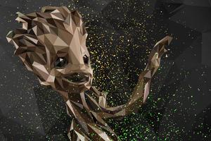 Baby Groot Abstract Digital Art Wallpaper