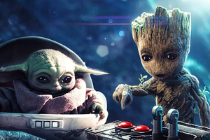 Baby Groot And Baby Yoda Wallpaper