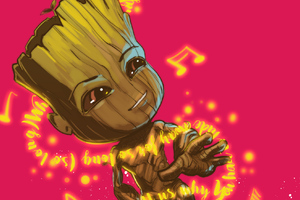 Baby Groot Dancing Wallpaper