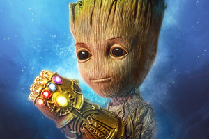 Baby Groot Gauntlet 4k Wallpaper
