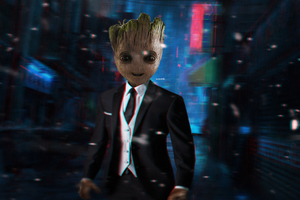 Baby Groot In Suit 4k Wallpaper