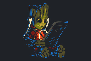 Baby Groot Listening To Music While Using Phone