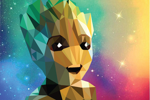 Baby Groot Low Poly Portrait Wallpaper