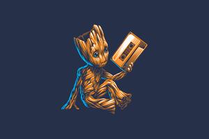 Baby Groot Minimal 4k Wallpaper