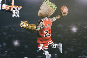 Baby Groot Playing Basketball Wallpaper
