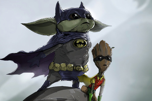 Baby Groot Yoda As Batman And Robin 4k