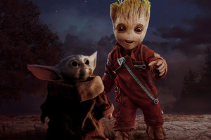 Baby Yoda And Baby Groot Wallpaper