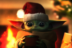 Baby Yoda Christmas Wallpaper