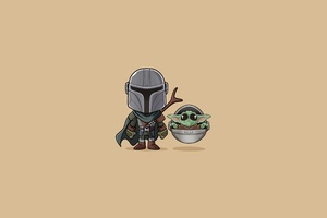 Baby Yoda The Mandalorian Minimalist Wallpaper