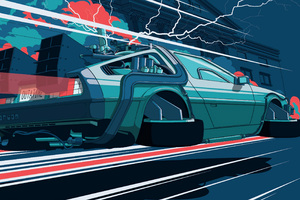 Back To The Future Car Illustration 4k