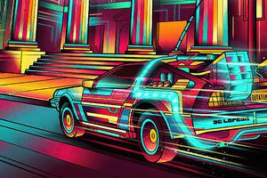 Back To The Future Colorful Delorean