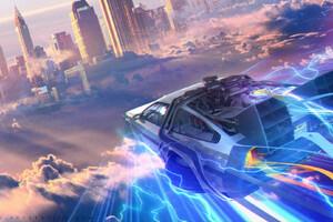 Back To The Future DMC DeLorean Artwork Wallpaper