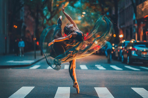 Ballet Dancer Girl Road 4k