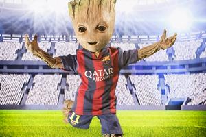 Barcelona New No 10 Baby Groot Wallpaper