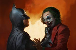 Bat And Joker Art Wallpaper