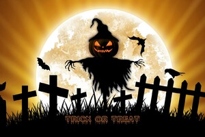 Bat Fence Halloween Holiday Scarecrow Wallpaper