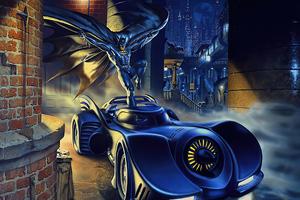 Bat Getting In Batmobile Wallpaper