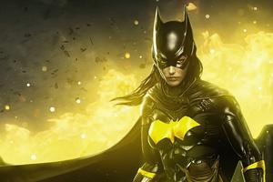 Batgirl Gold Knight 5k Wallpaper