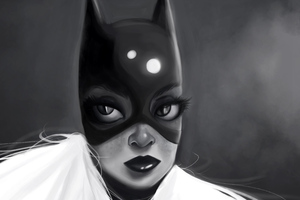 Batgirl Monochrome Art 5k Wallpaper