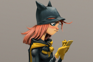 Batgirl Using Phone 4k