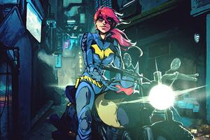 Batgirl With Bike Wallpaper