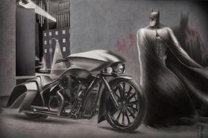 Batman Alongside With His Bike