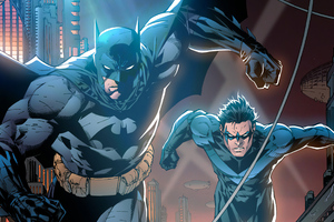 Batman And Nightwing Art Wallpaper