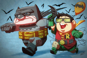 Batman And Robin Funny Art Wallpaper