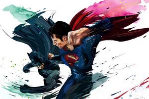 Batman And Superman Artwork 4k Wallpaper