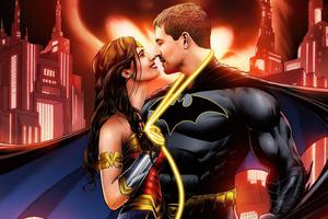 Batman And Wonder Woman Love Romance Wallpaper