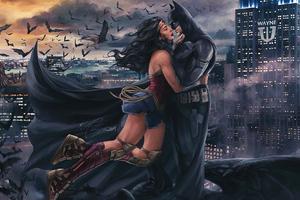 Batman And Wonder Woman Romantic Moment 4k