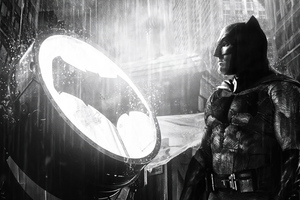 Batman Ben Affleck Alongside Bat Signal Wallpaper