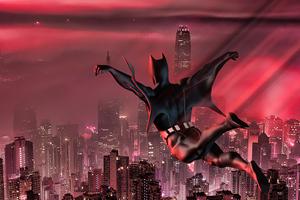 Batman Beyond Jumping In City 5k Wallpaper