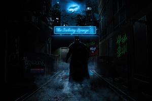 Batman In Neon Alley 5k Wallpaper