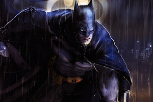 Batman In Rain Art Wallpaper